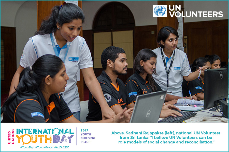 In the Public Representations Committee, which is under the Prime Minister's Office, Sadhani Rajapakse (left), national UN Volunteer (Sri Lanka), working with Volunteer Task Force (V-Force) members on the e-archiving of suggestions made by the public. (UN